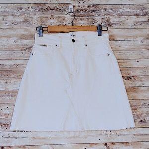 White Calvin Klein High-Waisted Mini Skirt